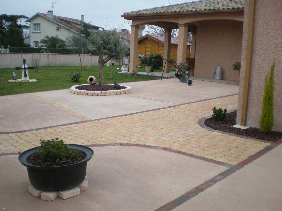 Am nagements acc s et all es ext rieurs et am nagements - Dalle beton terrasse exterieure ...